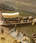 wagon fording the river